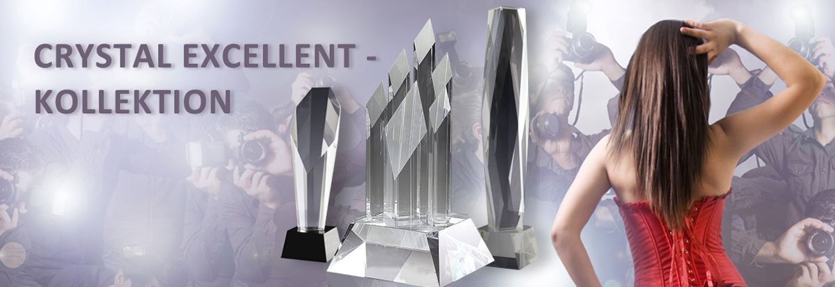 Glaspokal Sortiment der Crystal Excellent Kollektion für Business Awards