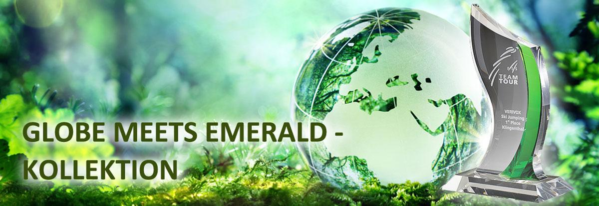 Glastrophäen Sortiment der Globe meets Emerald Kollektion für Business Awards
