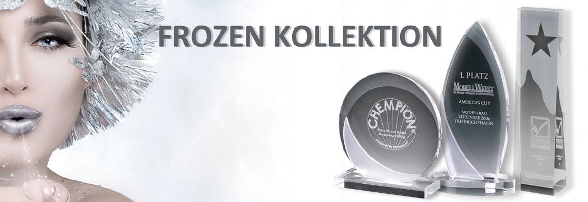 Glastrophäen Sortiment der Frozen Kollektion für Business Awards