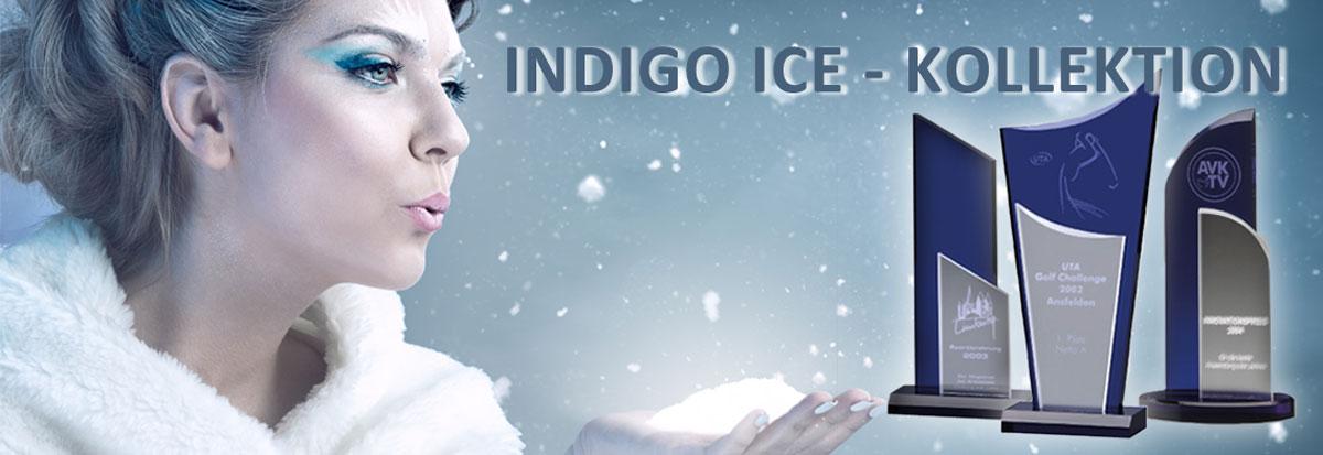 Acrylglastrophäe Sortiment der Indigo Ice Kollektion für Business Awards